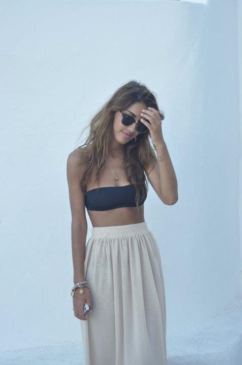 long skirt& bandeau chic