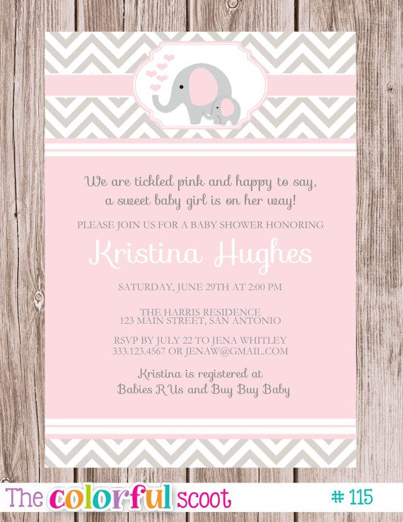 Baby Shower Invitation Elephant Blue Pink by TheColorfulScoot - how to word a baby shower invitation