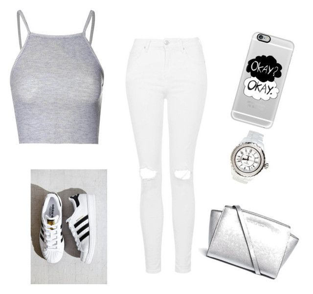 """♡♥"" by reeaaa ❤ liked on Polyvore featuring Topshop, adidas, Casetify, Chanel, Michael Kors and Glamorous"