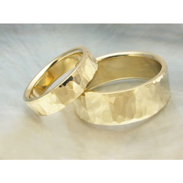 His And Hers Hammered Gold Wedding Band Set 8mm 5mm Wide Matching
