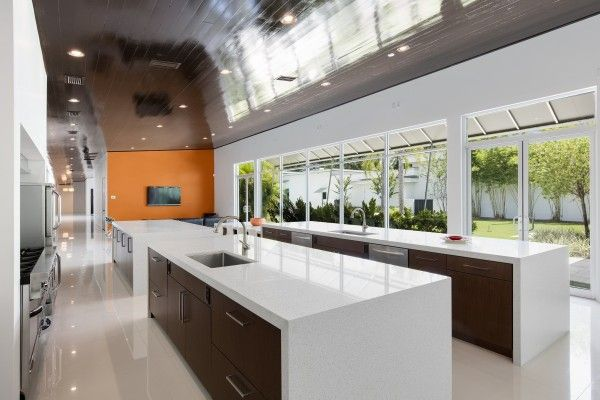 This contemporary commercial grade kitchen is a dream location to ...