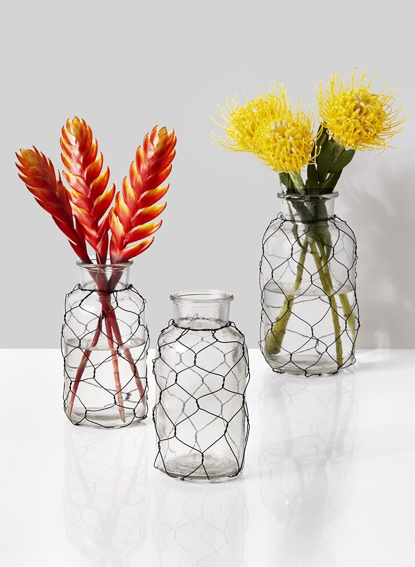 Glass Bottle Vases in Wire Cages | Glass bottle, Chicken wire and ...