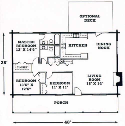 Log Home Floor Plans Single Story Home Plan Architectural
