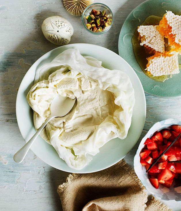 Australian Gourmet Traveller recipe for homemade yoghurt with strawberry and watermelon salad.