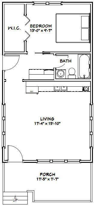 18x32 Tiny House -- 576 sqft -- PDF Floor Plan -- Model 1B | Floor