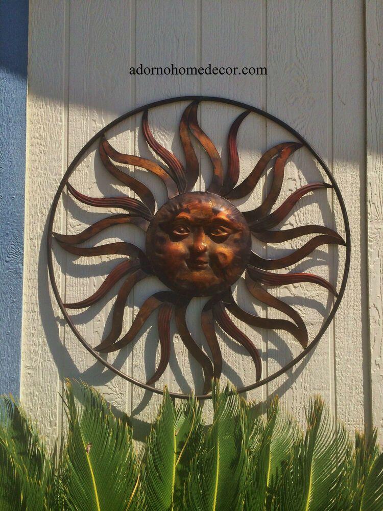 Large Round Metal Sun Wall Decor Rustic Garden Art Indoor Outdoor