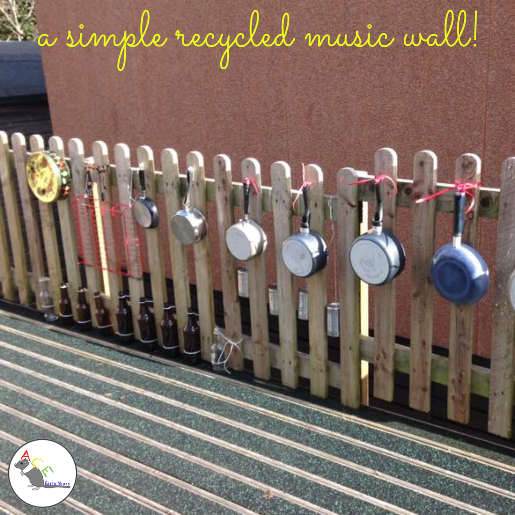 here's our very simple to make recycled music wall! #eyfs