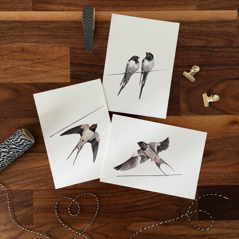 Decoration Carte Postale.Impression Jet D Encre Hirondelle Oiseaux Triptyque