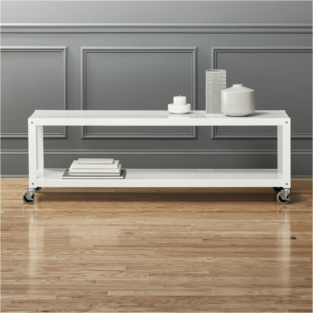 Cart White Rolling Tv Stand Coffee Table # Meuble Tv Roulant