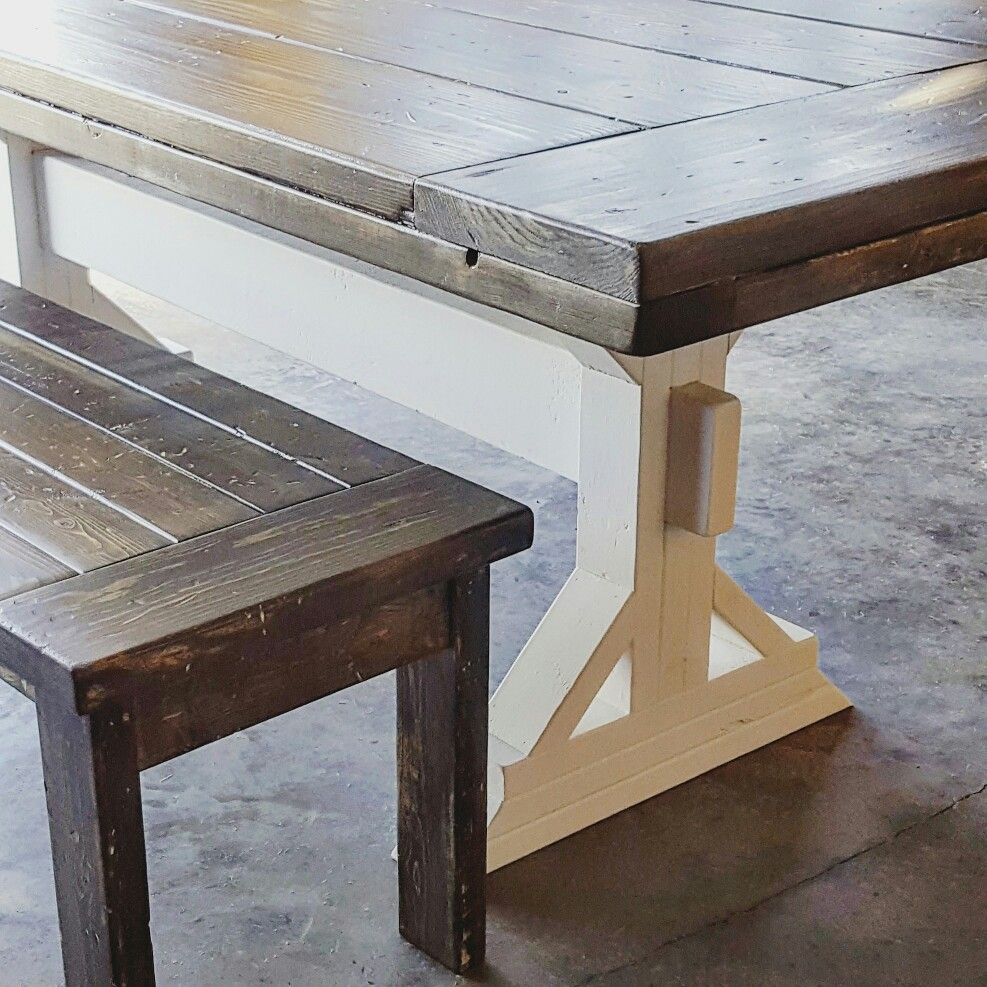Another Custom Trestle Style Farmhouse Table. The White Base Makes The Dark  Walnut Top Pop! The Benches Maximize Seating Around This Large Family Sized  ...