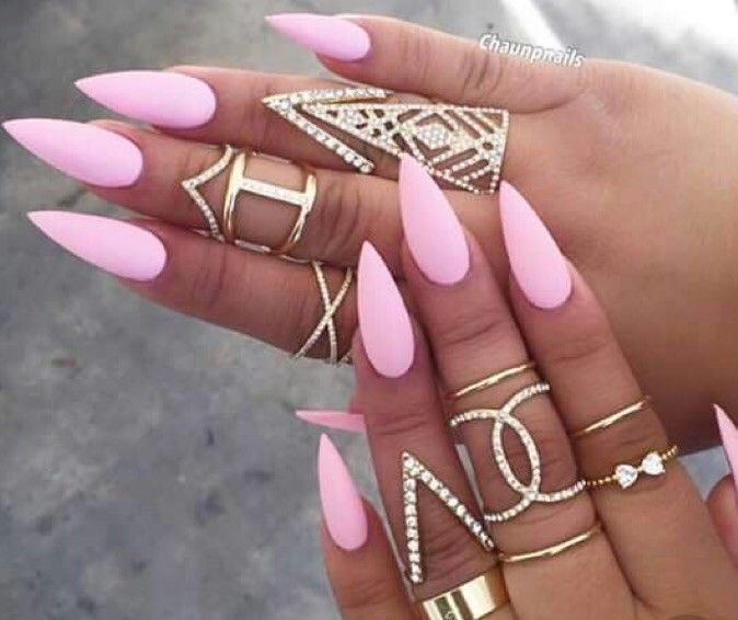Set Of Painted Baby Pink long Stiletto Nails | Nails | Pinterest ...