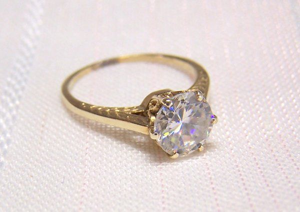 Vintage 14k Gold Engagement Ring Crown Motif 1 5ct Synthetic Diamond C1940