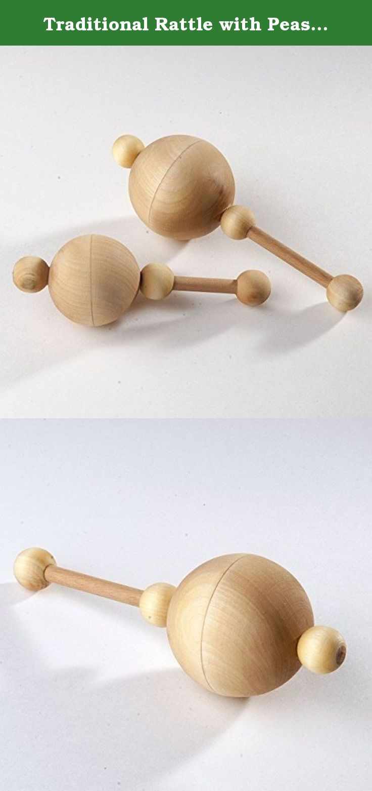 Traditional Rattle with Peas Teething Toy Organic Wooden Rattle Natural Infant Toy Beech and Linden rattle.