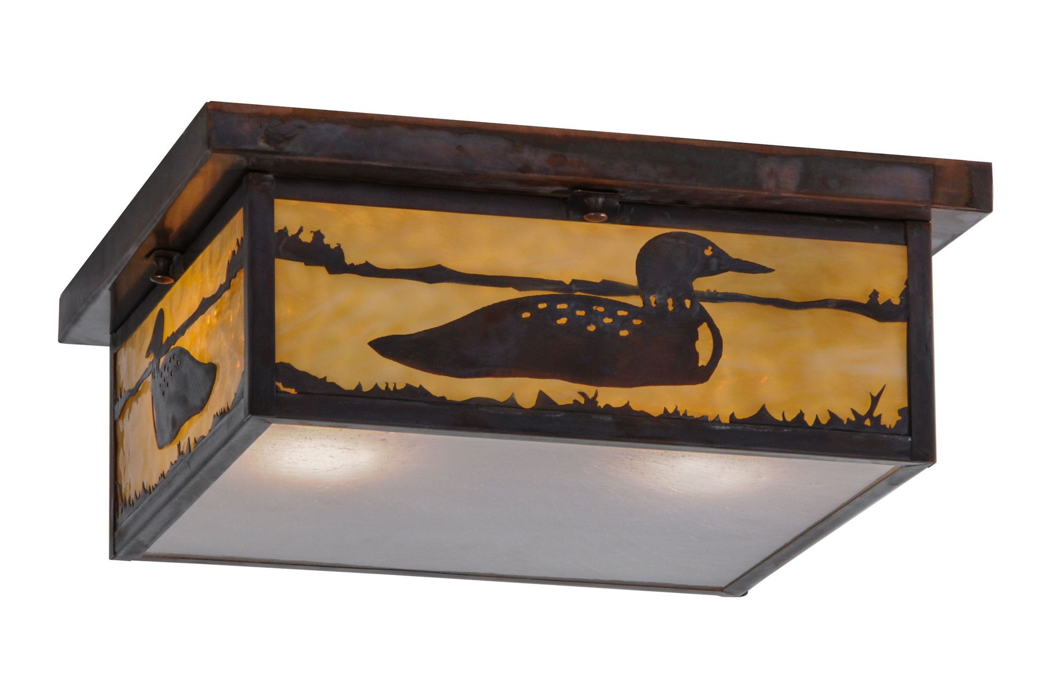 14 Inch Sq Hyde Park Loon Flushmount - 14 Inch Sq Hyde Park Loon flush mountThis Craftsman Signature ceiling fixture featuresstunning images of aquatic birds splashing in a lakecaptured in this wildlife inspired Beige Art Glass onside panels with a Frost Seeded Glass diffuser onbottom of fixture. Solid Brass fixture is complemented with a frame and hardware hand finished in Vintage copper. Handmade by Meyda Craftsmen in the Yorkville,NY manufacturing facility. Custom colors, styles and sizes…