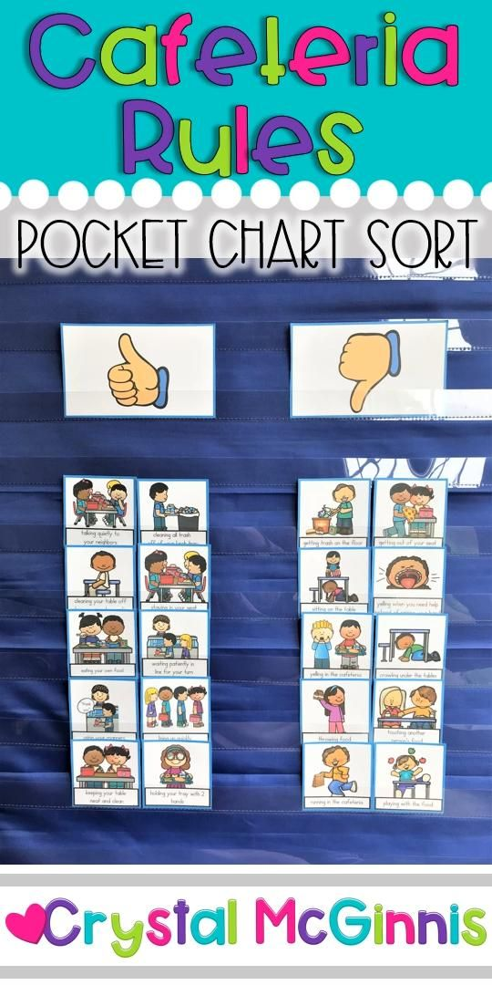 Cafeteria Rules Pocket Chart Sort First Day of School