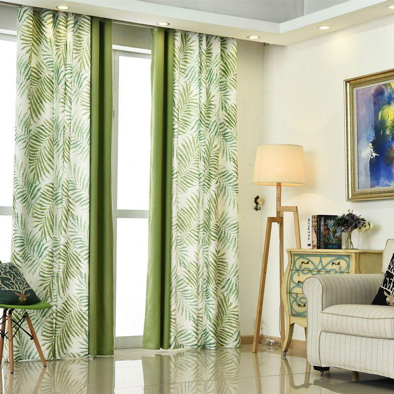 Tropical Fern Tree Leaf Green Eyelet Curtain Optional Sheer Tie Back In Home
