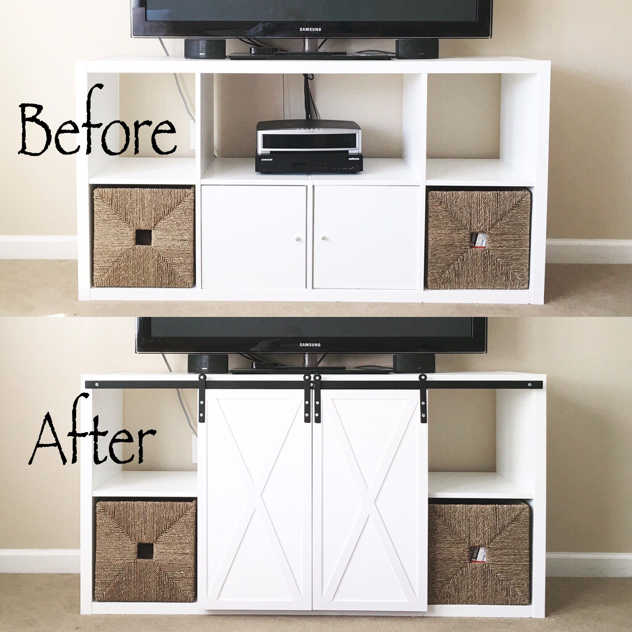 Before & After IKEA Kallax | DIY Barn Doors | DIY Hardware ...