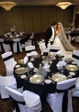 Wedding Reception Black Table Cloth With White Chair