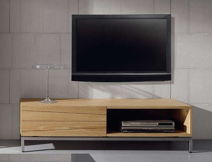 mueble tv de madera natural weymouth mueble realizado en chapa de roble natural - Mueble Televisor