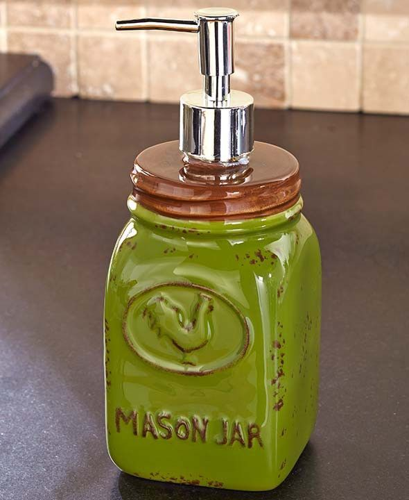 COUNTRY KITCHEN GREEN MASON JAR SOAP PUMP DISPENSER SHABBY RUSTIC DISTRESSED