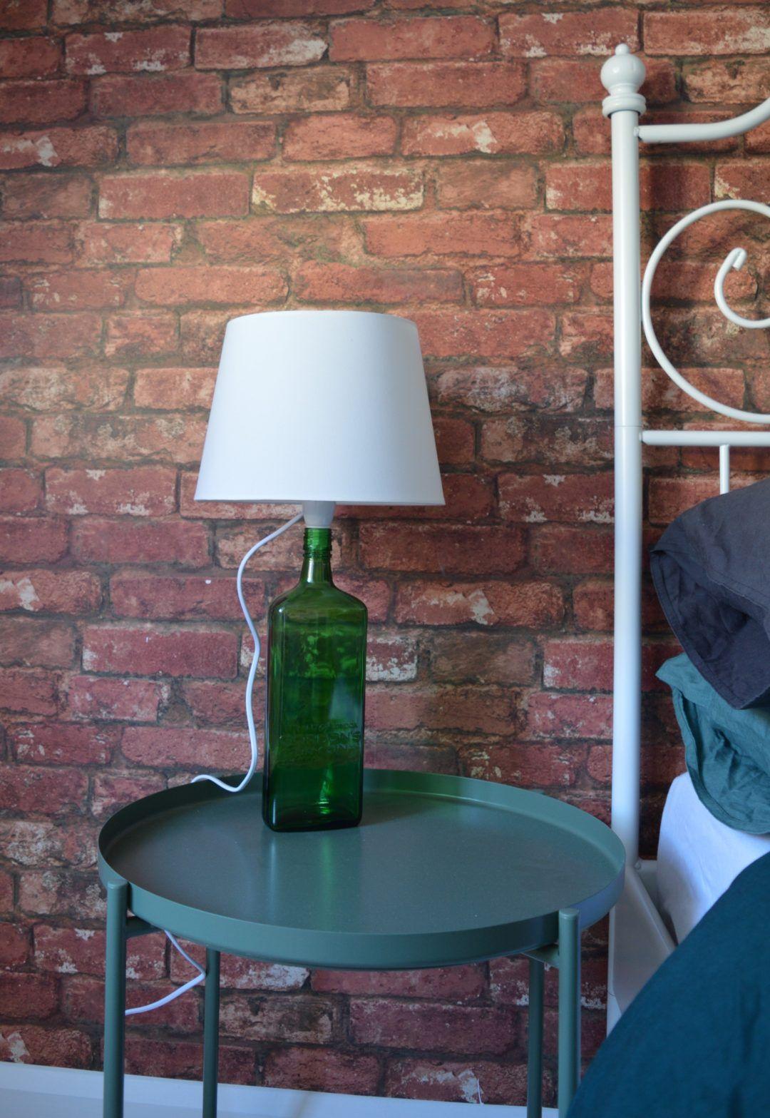 after master bedroom brick wallpaper green flower ikea gladom tray table dark green gordons gin. Black Bedroom Furniture Sets. Home Design Ideas