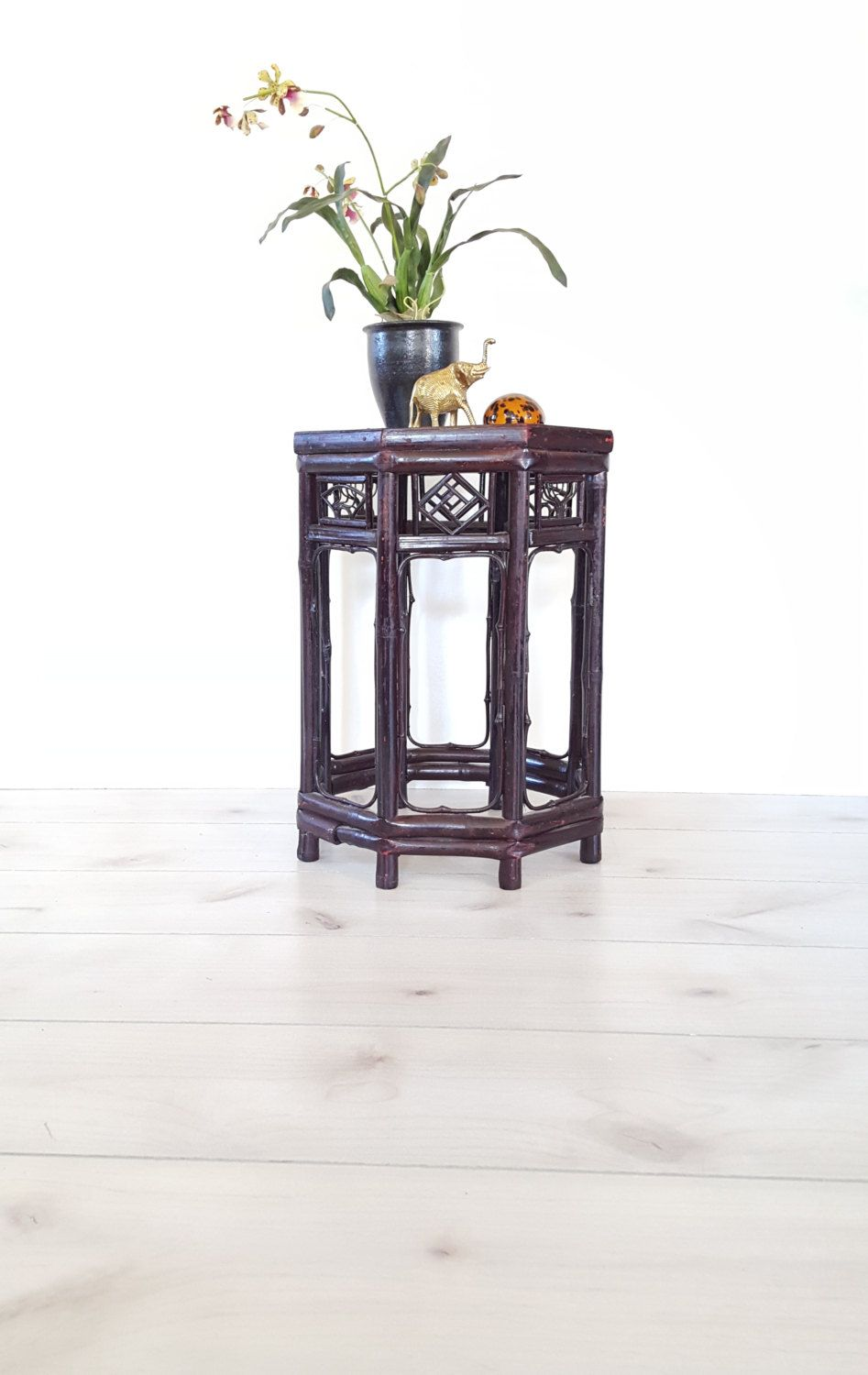 Cane/ Rattan Side Table/ Plant Stand ~ Octagon Bamboo Glass Top Table/ Stand