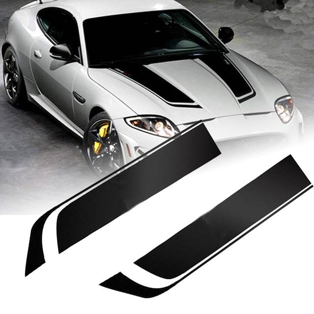 2pcs 85cm Black Racing Sports Stripe Sticker Universal Car Hood Bonnet Vinyl Decals Car Styling Stickers Mayitr Revie Car Stripes Vinyl For Cars Racing Stripes