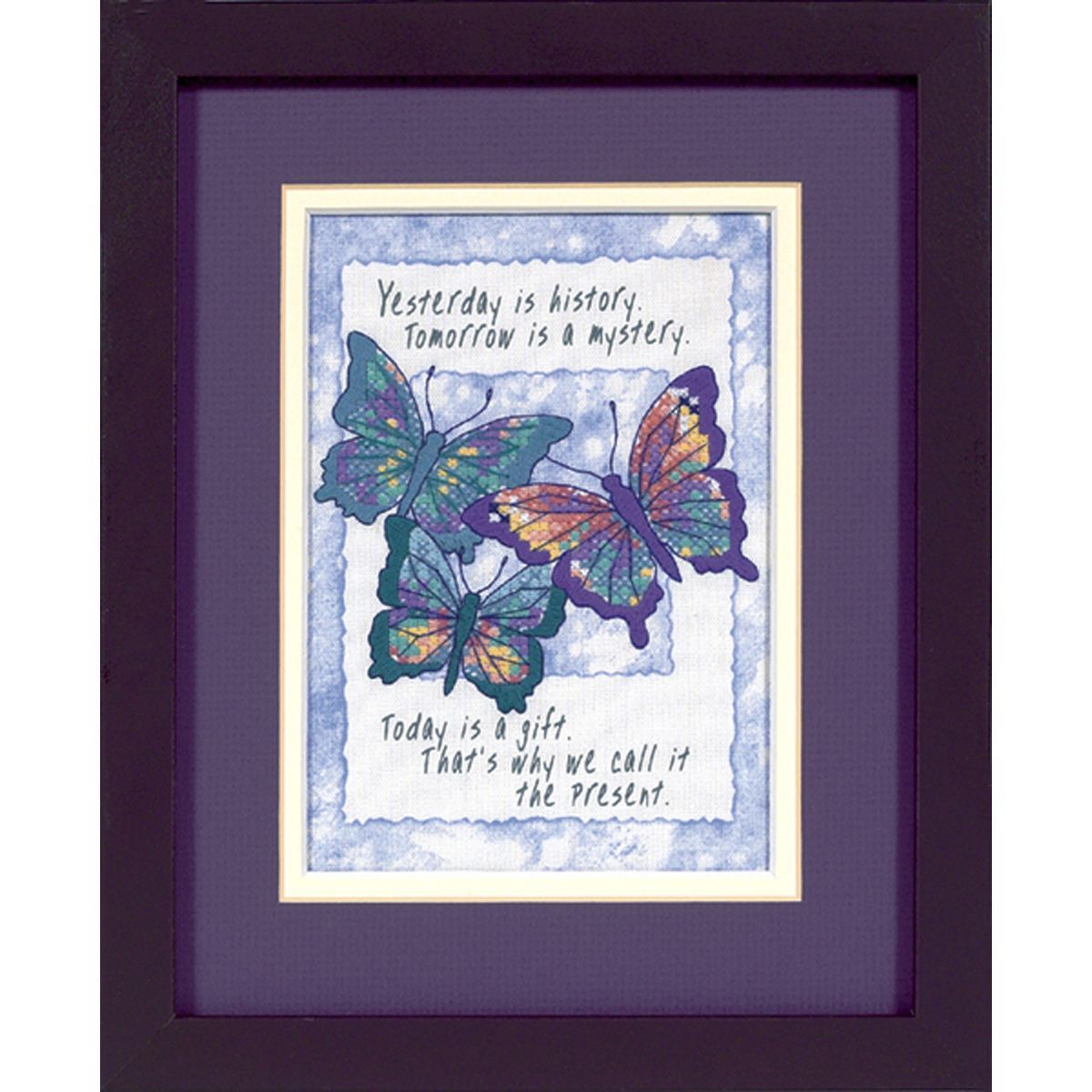 """Dimensions Jiffy Today Is A Gift Mini Stamped Cross Stitch Kit-5""""X7"""""""