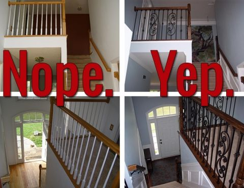 Best Iron Baluster Staircase Before And After Iron Balusters 400 x 300