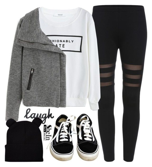 """""""Black Cat"""" by alexandra-provenzano ❤ liked on Polyvore featuring MANGO and Vans"""