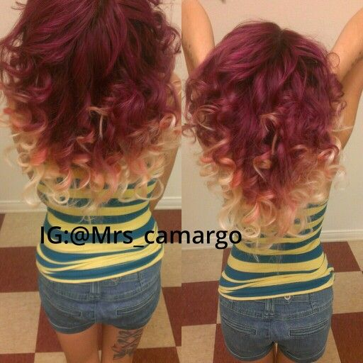 Peachy Burgundy And Blonde Ombre Hair A Little More Natural For Me Hairstyles For Men Maxibearus