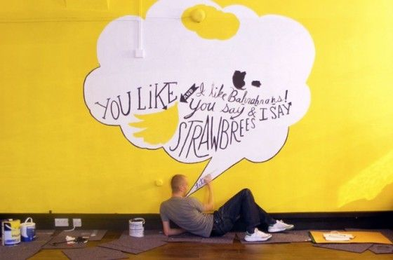 10 twitter wall painting ideas inspiration typography speach bubble ...
