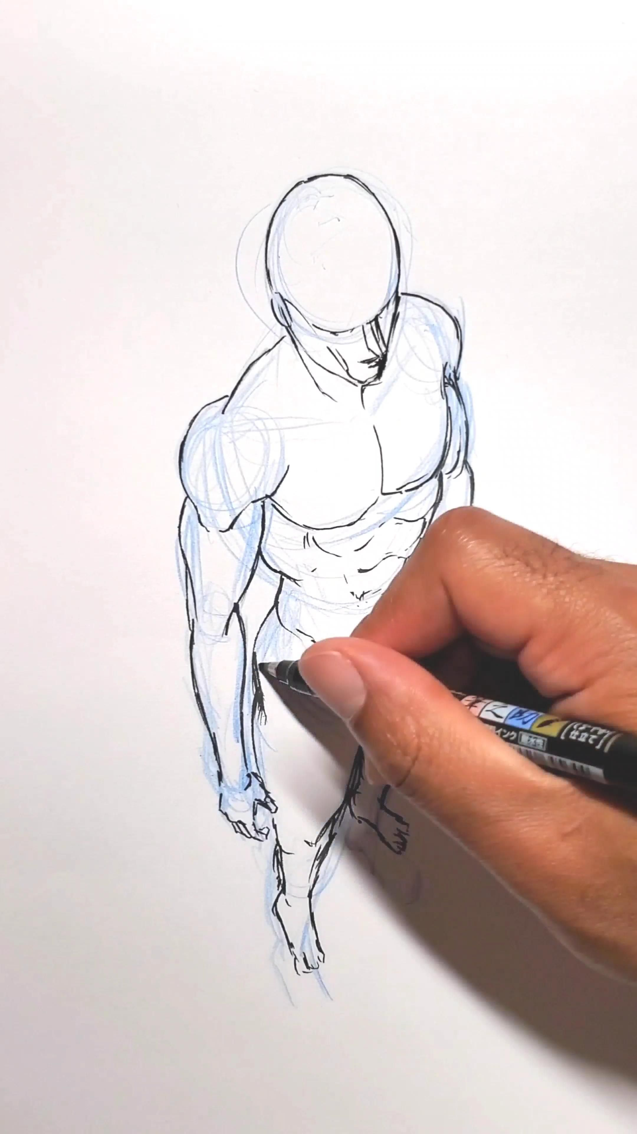 Photo of how to draw a body in perspective step by step for beginners