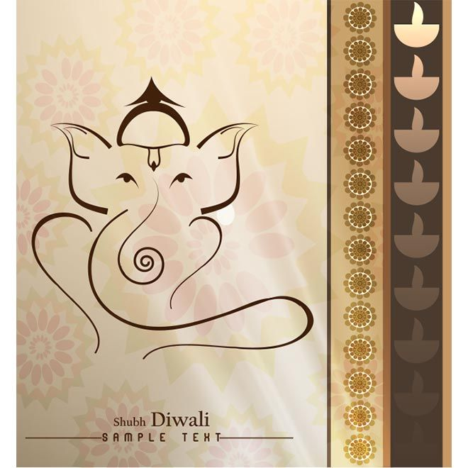 Vector Shubh Diwali Ganesha on traditional pattern background - greeting card format