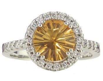 Gevovese Jewelers - 14k white gold round citrine and diamond ring