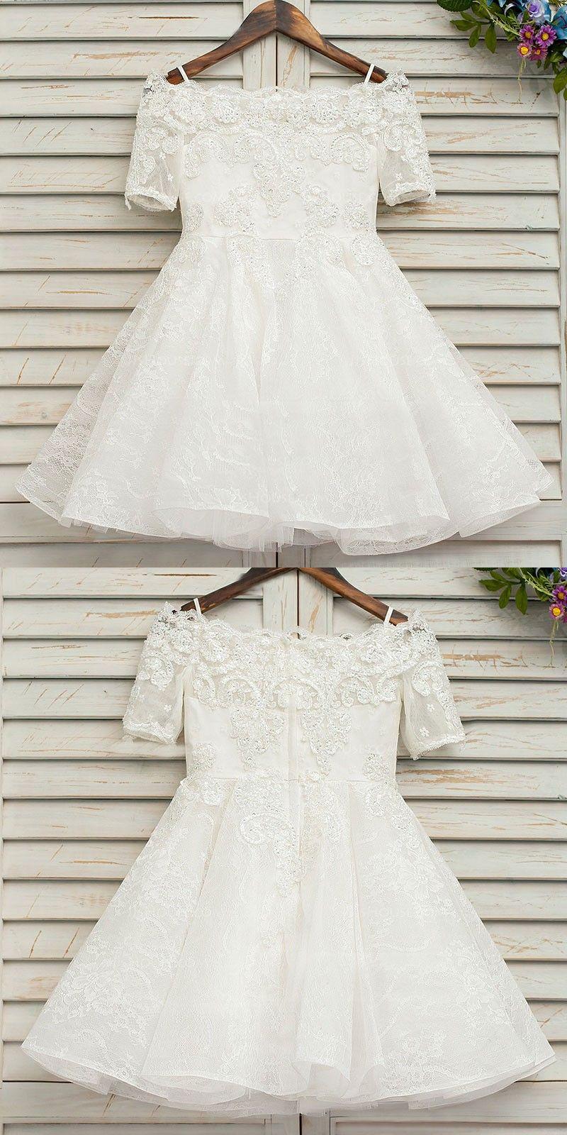 Aline offtheshoulder half sleeves lace flower girl dress with