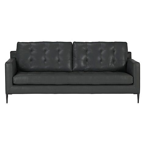 John Lewis Dr Large 3 Seater Leather Sofa Metal Leg Online At Johnlewis