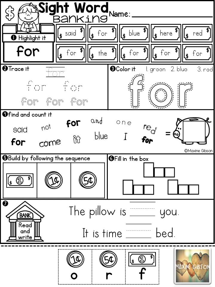 Sight Word Banking PrePrimer Kindergarten handwriting