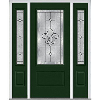A Black Front Door Accented With 12 Glass Panels And A Brass Doorknob Opens To A White Kitchen Kitchen Door Designs Moldings And Trim White Paneling