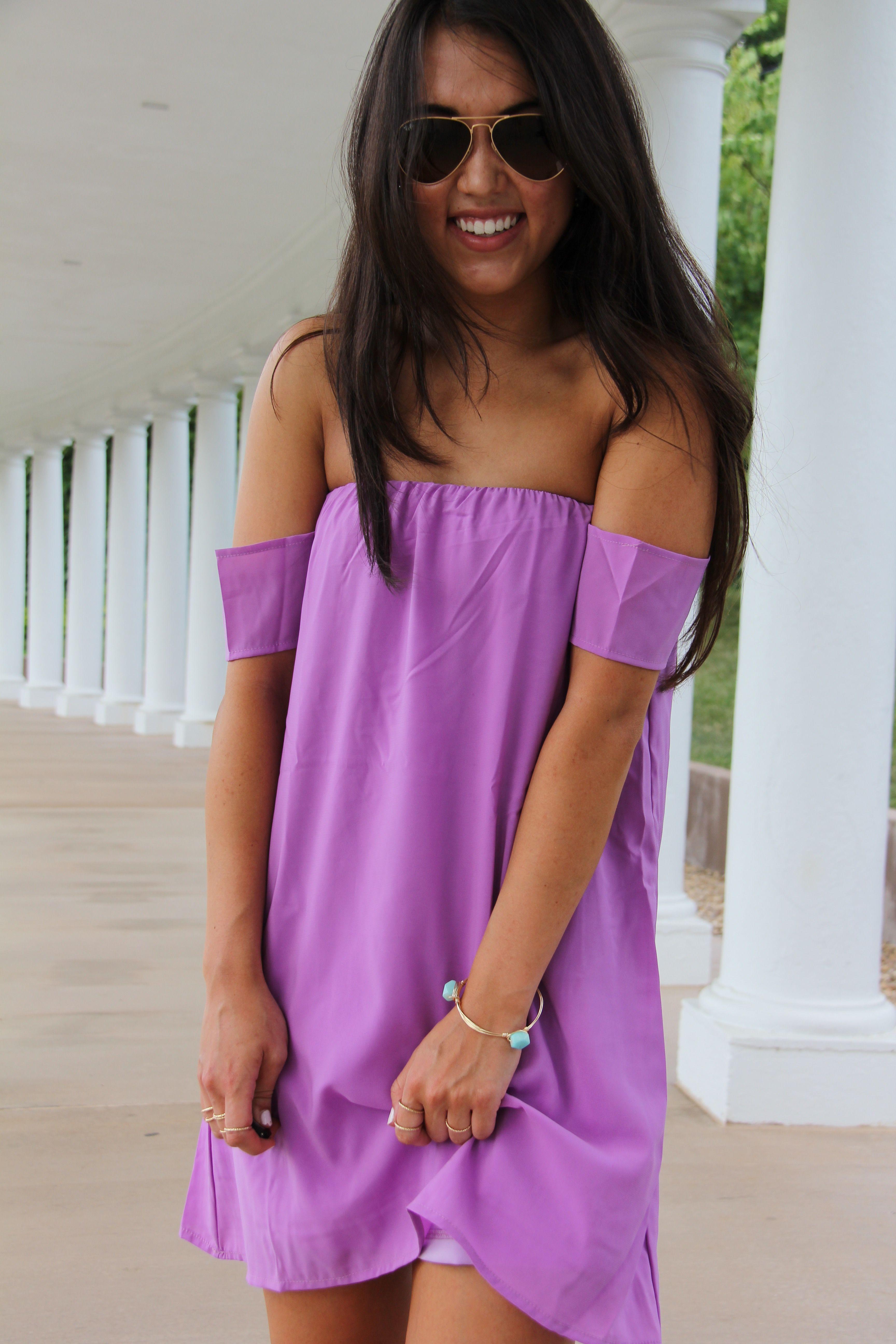 Off The Shoulder Dress Pretty In Purple Fashion Off Shoulder Dresses Warm Weather Fashion [ 5184 x 3456 Pixel ]