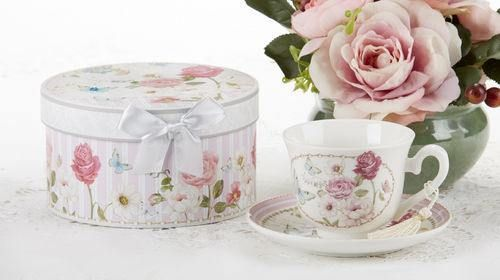 Gift Boxed Tea Cup (Teacup) & Saucer - Grace