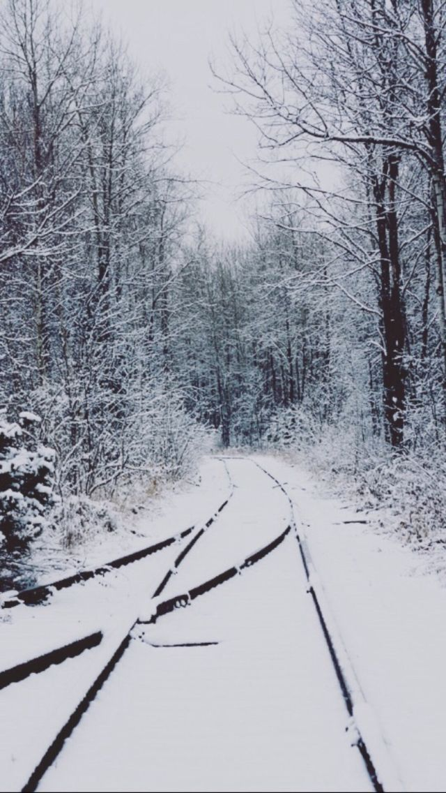 White Christmas Iphone Wallpaper Tumblr Railroad Winter Scenery Winter Scenes Train Tracks
