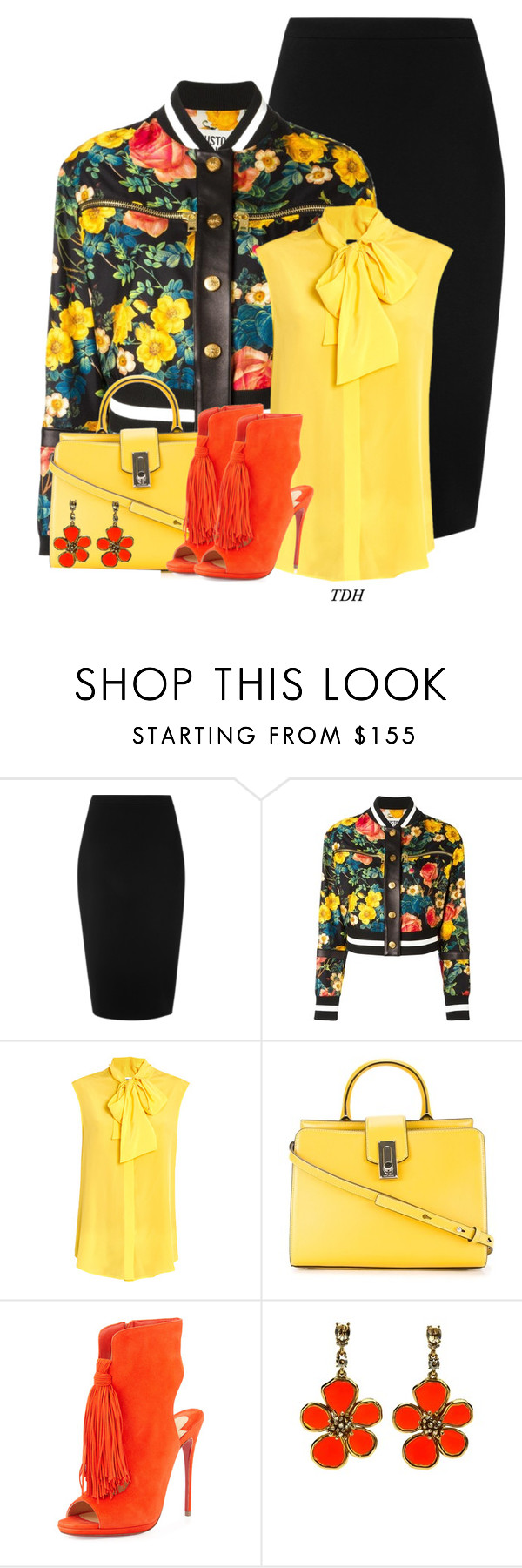 """""""Print Bomber Jacket"""" by talvadh ❤ liked on Polyvore featuring L.K.Bennett, FAUSTO PUGLISI, Moschino, Marc Jacobs, Christian Louboutin and Oscar de la Renta"""