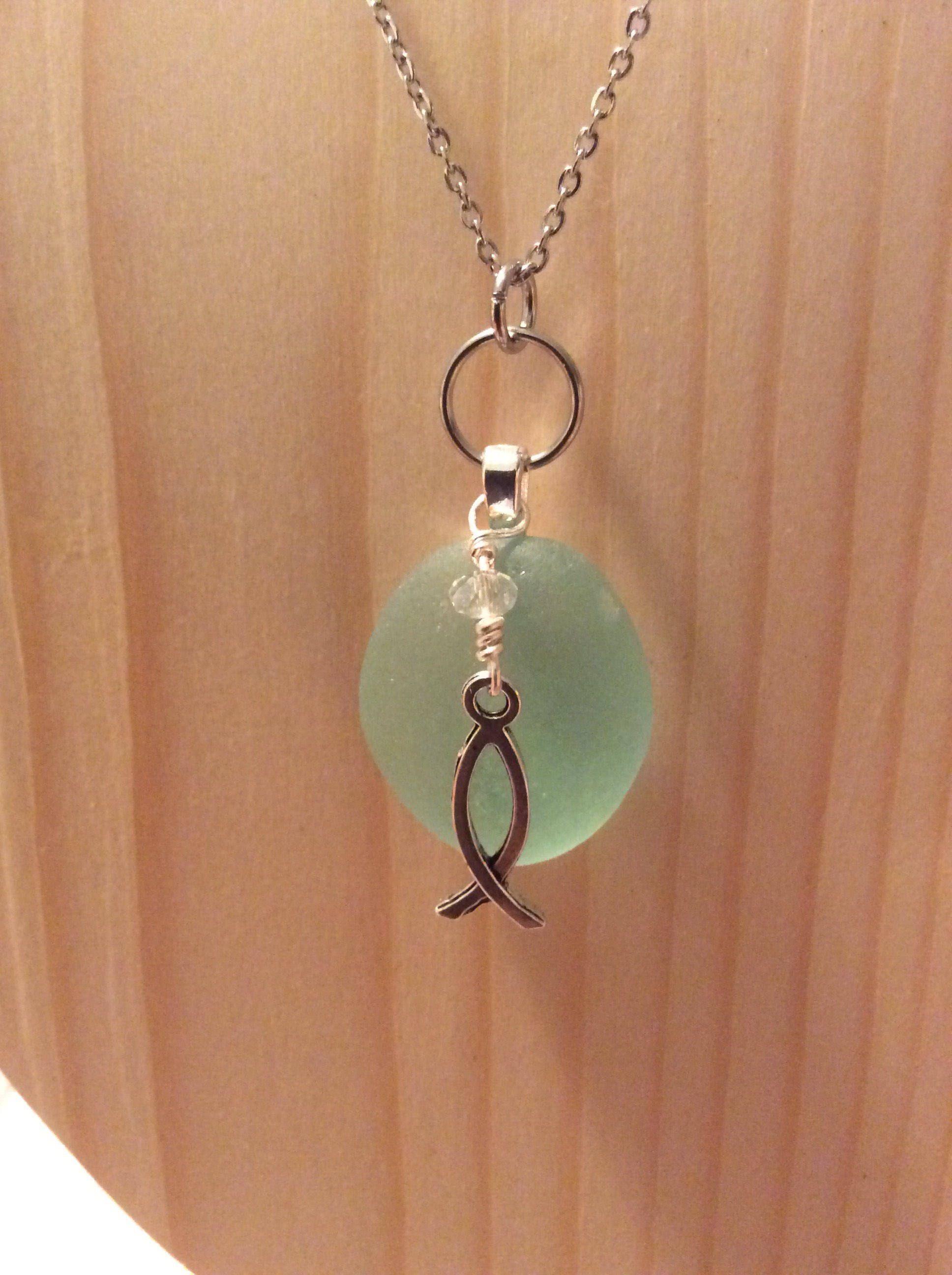 Aqua Sea Glass With Christian Fish Symbol Necklace Sea Glass