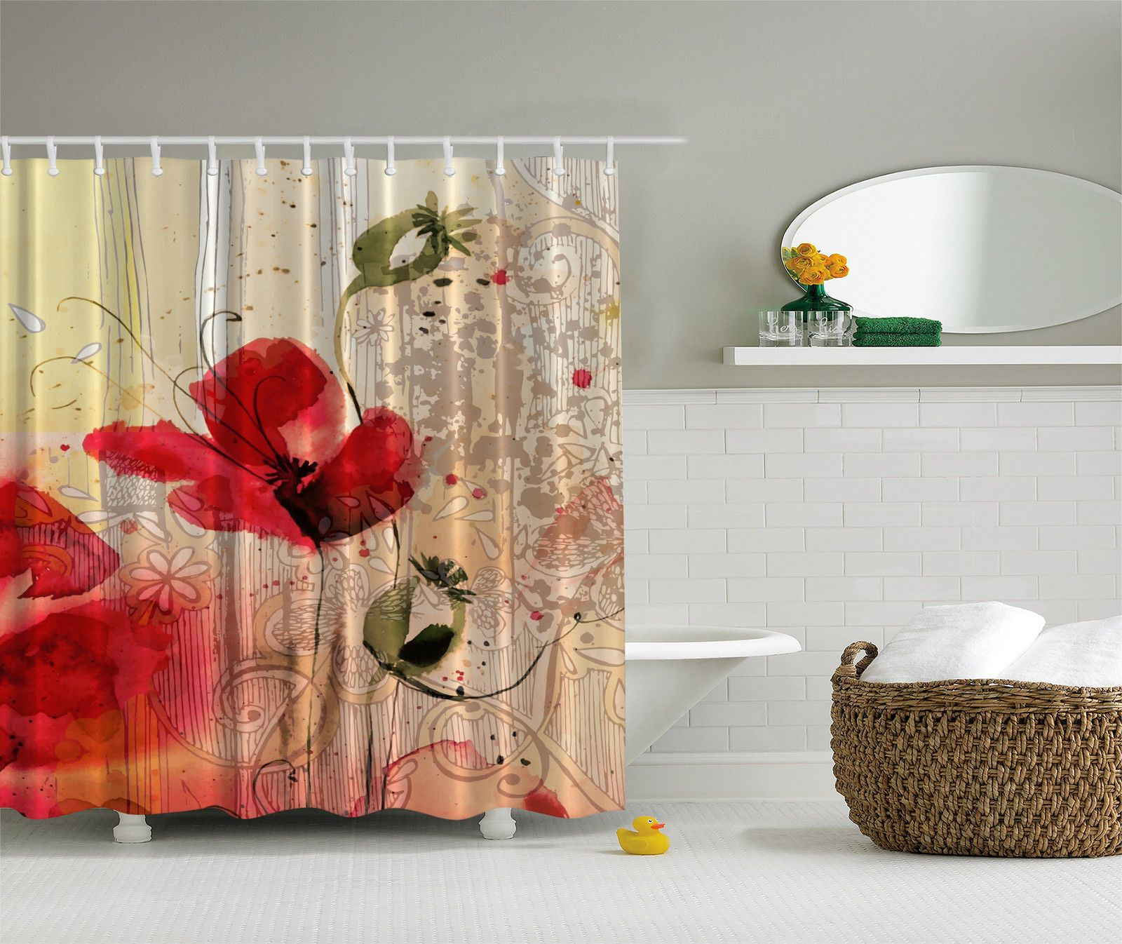 Red Poppy Flower Beige Floral Fabric Digital Art Bathroom Shower
