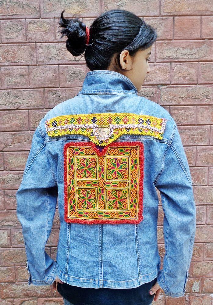 Vintage Banjara Kuchi Afghan Ethnic Hippie DENIM Festival APOCK ATS Jeans Jacket