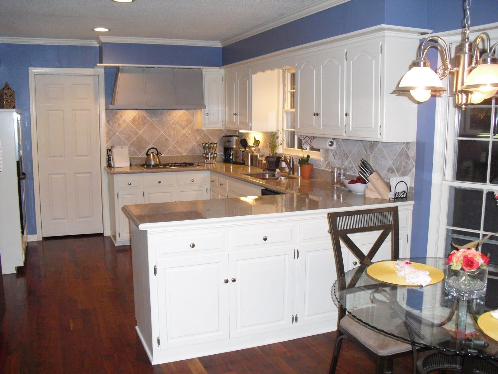 Kitchen Remodel With White Cabinets and Blue Walls | Kitchen colors ...