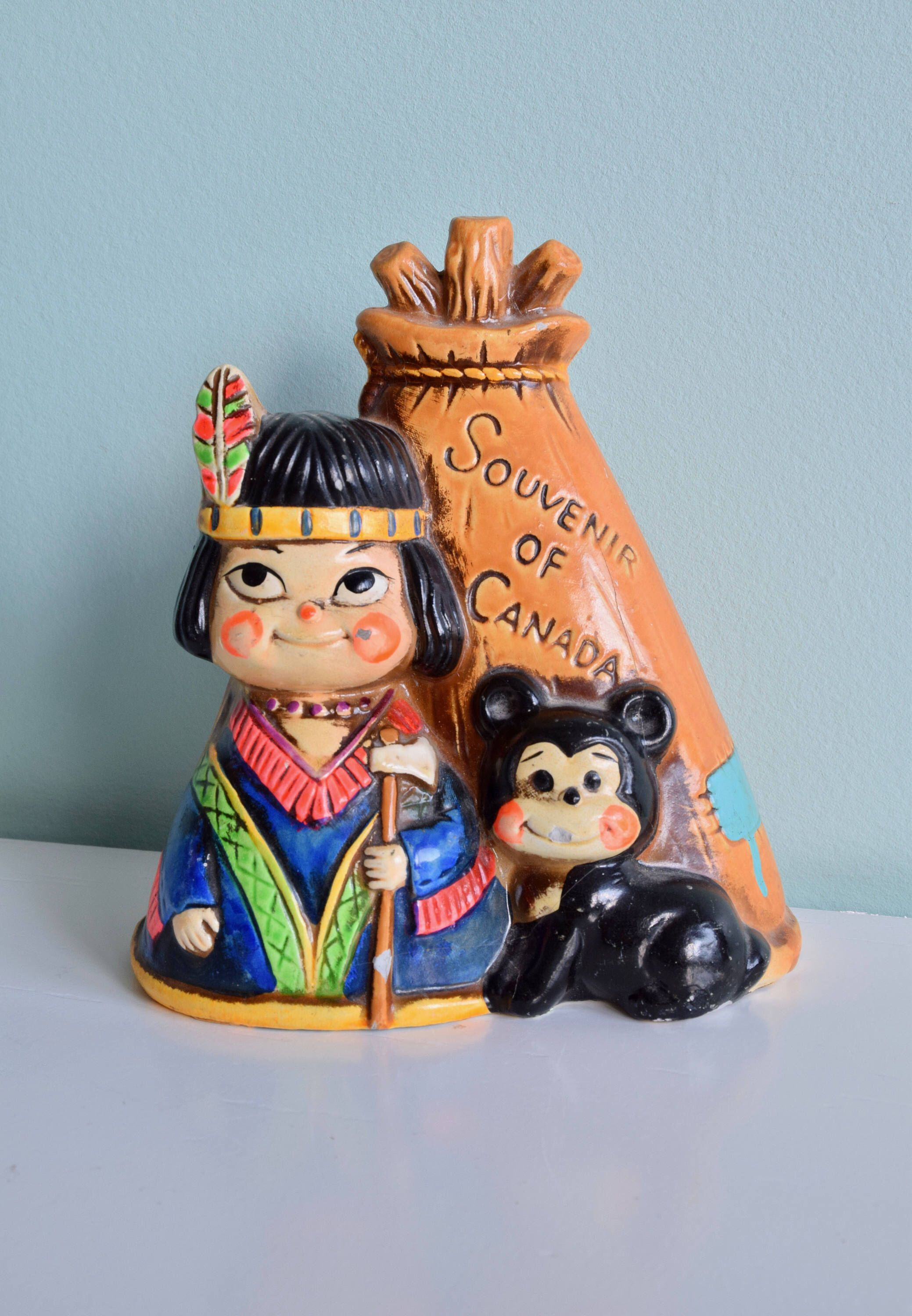 Vintage Canadian Souvenir, Indian Girl and Tepee, Vintage Coin Bank ...