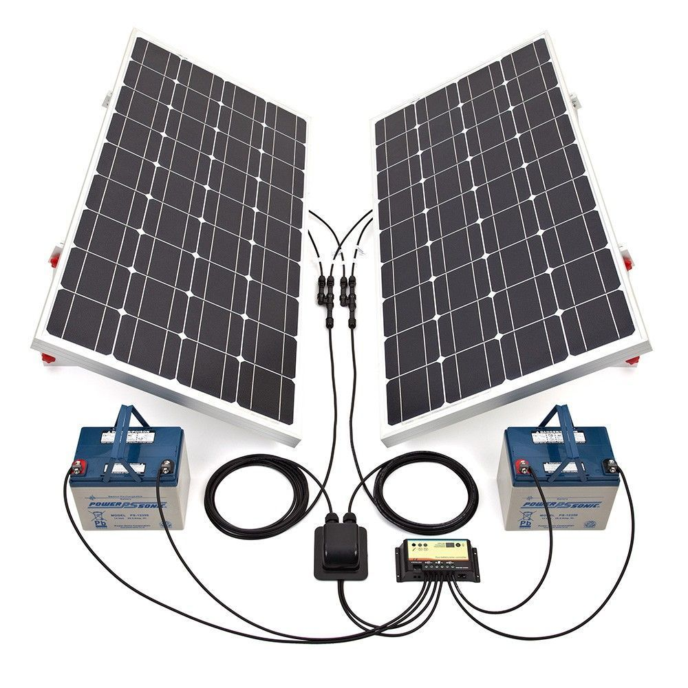 Biard 200W Silver Solar Panel Kit with Adjustable Frames, 20A Dual ...