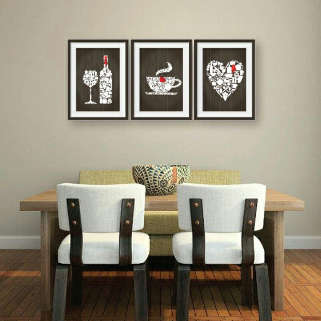 Lovely kitchen decor 3 set. Brown wooden style background. Wine ...